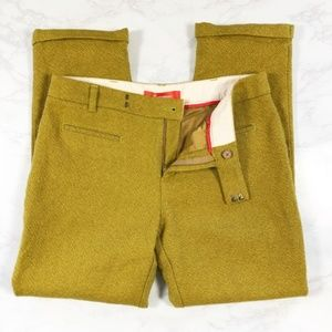 Anthro Cartonnier Chartreuse 100% Wool Pants 8